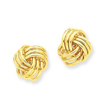 12mm Polished 3D Love Knot Earrings in 14k Yellow Gold
