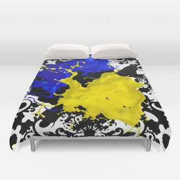 black white blue yellow Duvet Cover by violajohnsonriley