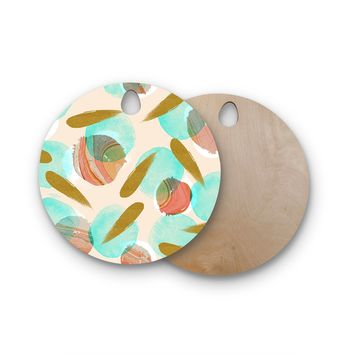 "Mmartabc ""Marble And Gold Abstract"" Coral Gold Watercolor Round Wooden Cutting Board"