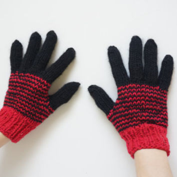 Hand knit knitted gloves mittens black with fingers S XS size 6 7 for woman children kids handmade stripes ooak warm ready to ship under 20