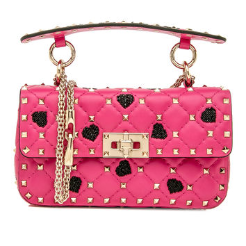 Small Pink Hearts Rockstud Spike Chain Bag