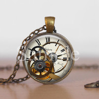Vintage Inspired Clock and Gear Movement  Steampunk Necklace, Steampunk Jewelry