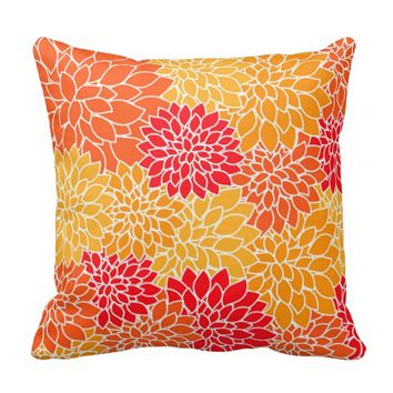 Orange Dahlia Flowers Throw Pillows