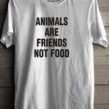 Animals Are Friends Not Food Women's Short Sleeve Casual T-Shirt