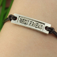 bracelet--best friend bracelet,silver charm bracelet,brown leather bracelet,friendship gift