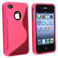 eForCity TPU Rubber Skin Case Compatible With Apple® iPhone® 4, Clear Hot Pink S Shape