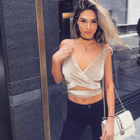 New Women Bralette Spaghetti Strap Low V Plunge Cross Bandage Self-tie Backless Velvet Camisole Crop Top Ladies Sexy Club Bralet