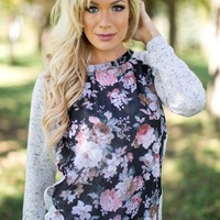 All in Bloom Floral Top in Black