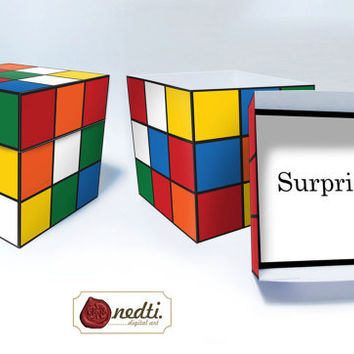 Printable Gift Box Template, DIY, Color Cube Game Puzzle, Solved - Unsolved, Instant Download