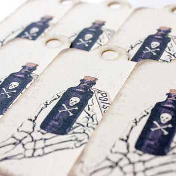 Skeleton Hand Holding Poison Bottle Paper Tags - Set of 12  - Pirate Poison Steampunk Scrapbooking Hang Tags Gift Wrap Wrapping Gothic Goth