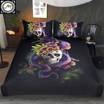 3-Piece Flowery Skull by Sunima Bedding Set Purple Flower Duvet Cover Dangerous Monster Floral Bed Set