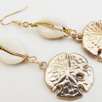 Gold Sand Dollar Pendant Earrings Handmade by Lindsey From Siesta Key, Florida - Cowrie Shells - Gold Pendants - Christmas Gift