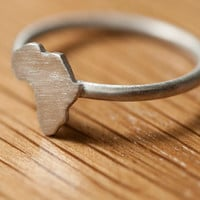 Brushed silver Africa Ring