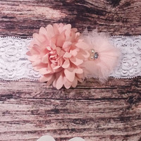 Peach Chiffon and Tulle Flowers Lace Baby Girl Headband!