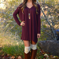Long Sleeve Piko Dress - Dark Burgundy