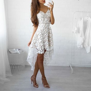 Summer Dress Women White Lace Hollow Out Cocktail Party Dresses Elegant V-neck Spaghetti Strap High-Low Vintage