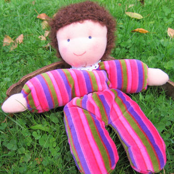 Beautiful handmade doll. Waldorf antroposophic doll. Perfect for playing and cuddling. Soft doll.