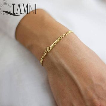 QIAMNI Six Color Stainless Steel Personalized Any Name Bracelets & Bangles Handwriting Signature Customized Bracelet Women Men