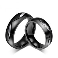Fashion Black Wedding Rings Stainless Steel Rings For Women And Men Jewelry CZ Engagement Rings Wedding Bands Classic Style