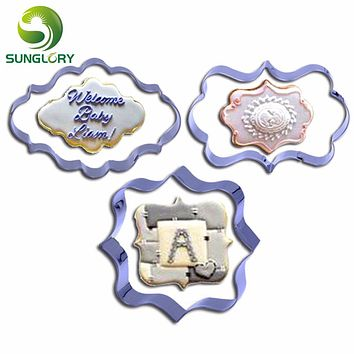 European Style 3PCS Stainless Steel Photo Frame Cookie Cutter Picture Frame Cookie Mold Mousse Ring Fondant Baking Biscuit Mould