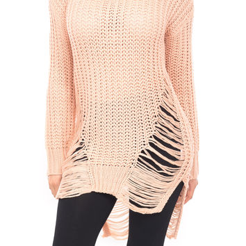 COWL NECK SWEATER WITH RIP DETAIL
