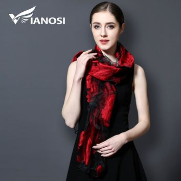 Silk Scarf Luxury Embroidery Scarf Women Scarves Shawl Lace Beach Cover-ups