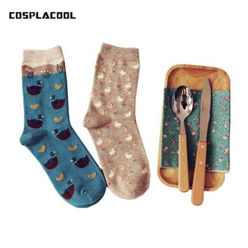 2 Pairs/Set Japanese Harajuku Cartoon Animal Duck Pattern Funny Calcetines Women Creative Character Cute Sox Chaussette Femme