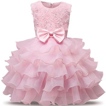High-end Lush Elegance Newborn Baby Girl Baptism Dress 1 Year Birthday 2017 Flower Tutu Dresses For Girls Baby Ceremonies Dress