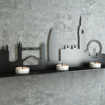 Amazing Laser Cut London England Silhouette Decorative Metal Shelf - Functional Wall Decor