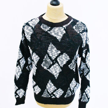 Vintage 1980s Diamond Psychedelic Square Shapes Indie Sweater Jumper Small