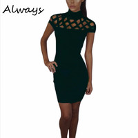 Party Night Style Turtle Neck Club Dress Hollow Out Mesh Slim Dresses Sexy Skinny Cut Off Bodycon Dress femmes Vestidos