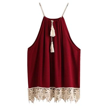 Blouse,OVERMAL Women Lace Trimmed Tasselled Drawstring Blouse Tank Tops T shirt