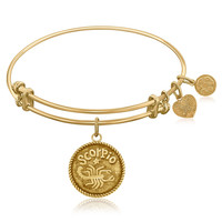 Expandable Bangle in Yellow Tone Brass with Scorpio Symbol