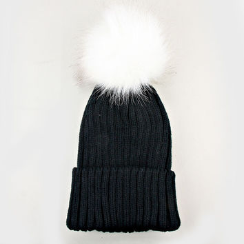Large Fur Pom Pom Slouchie Knit Beanie Hat - Black/White