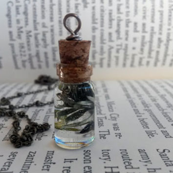 Green Plant Necklace - Real Flower Necklace - Hippie Jewelry - Bohemian Jewelry - Glass Bottle with Cork -Miniature Bottles -Vial Necklace