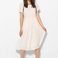 The Whitepepper Silky Pleat-Pocket Midi Dress - Urban Outfitters