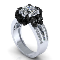 Black Skulls Surrounding Diamond Ladies Ring