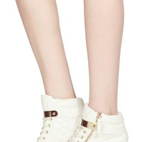 White Faux Leather Gold Plated Sneaker Wedges @ Cicihot Women Sneakers-Fashion Sneakers,Casual Sneakers,Wedge Sneakers,Platform Sneakers,Hidden Wedge Sneakers,High Top Sneakers,Lace Up Sneakers,Studded Sneakers,Buckle Sneakers