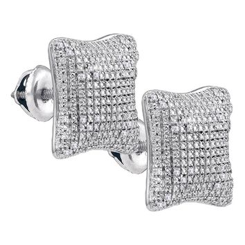 Sterling Silver Mens Round Diamond Puffed Square Cluster Earrings 1/6 Cttw