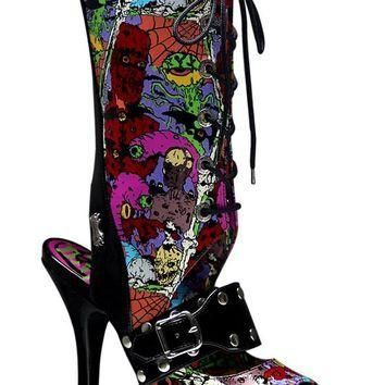 Pleaser Female 4 1/2 Inch Heel Lace Up Knee High Sandal With Creepy Eyeballs Print ZOM