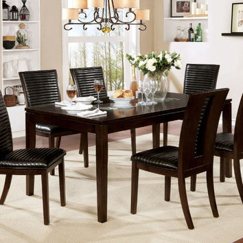 Furniture of america CM3820T-7PC 7 pc Jenessa walnut finish wood dining table set