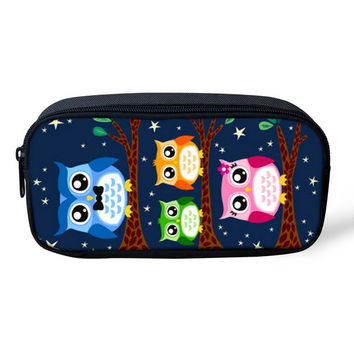 Cartoon Owl Kids Pencil Bags Girls Women Makeup Bag Cosmetics Case Cute Animal Pen Box for Children School Stationery Organizer