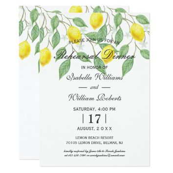 Modern Boho Lemon Summer Rehearsal Dinner Card