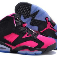 Hot Nike Air Jordan 6 Retro Women Shoes Peach Black