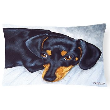 Black and Tan Doxie Dachshund Fabric Decorative Pillow AMB1079PW1216
