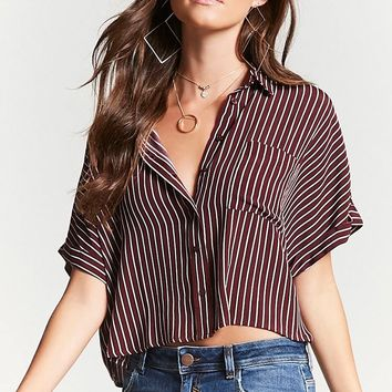 Pinstripe Cuff-Sleeve Shirt - Women - 2000194691 - Forever 21 Canada English