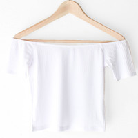 Off The Shoulder Crop Top - White