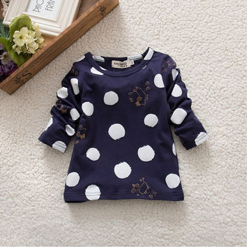 Kids Girls Clothing Polka Dot Tops T-Shirt Cotton Long Sleeve Tees
