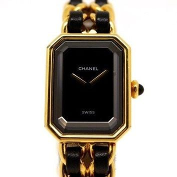 CHANEL Chanel Premiere M plate leather 200 large wristwatch from japan(12408