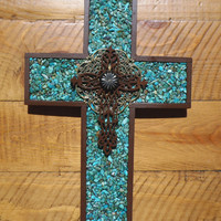 Turquoise Wall Cross  Wall Art by Windychimes on Etsy